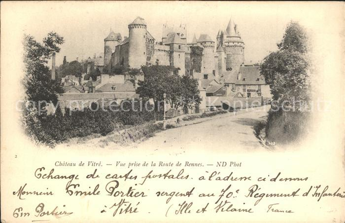 AK / Ansichtskarte Vitre d Ille et Vilaine Chateau vue prise de la Route de Rennes Kat. Vitre