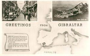 AK / Ansichtskarte Gibraltar Main Street Rock from air Map Kat. Gibraltar