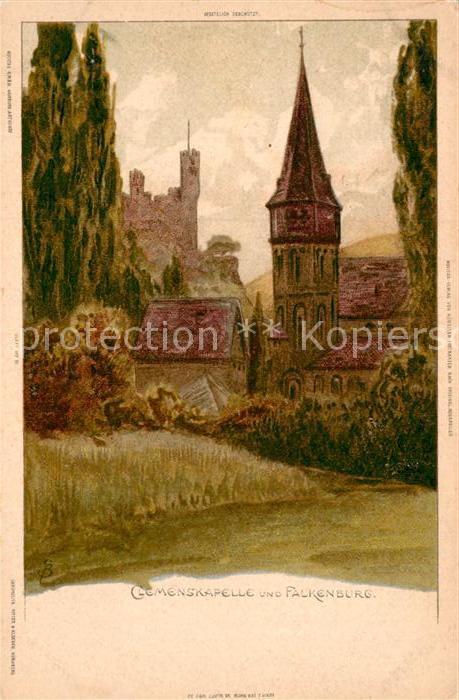 AK / Ansichtskarte Biese Carl Karl Clemenskapelle Falkenburg  Kat. Kuenstlerlitho