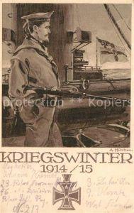 AK / Ansichtskarte Marine WK1 Kriegswinter Kuentlerkarte A. Muehlhan Kriegshilfe Hamburg Eilbeck Kat. WK1