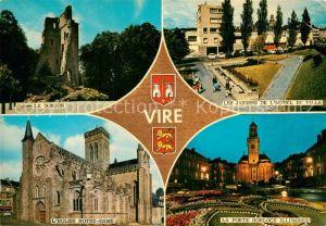 AK / Ansichtskarte Vire Calvados Donjon Jardins Hotel de Ville Porte Horloge illuminee Eglise Notre Dame Kat. Vire