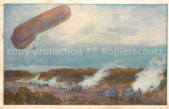 AK / Ansichtskarte Zeppelin Fesselballon Artilleriewirkung Prof. Hans Rudolf Schulze Luftflotte Kat. Flug