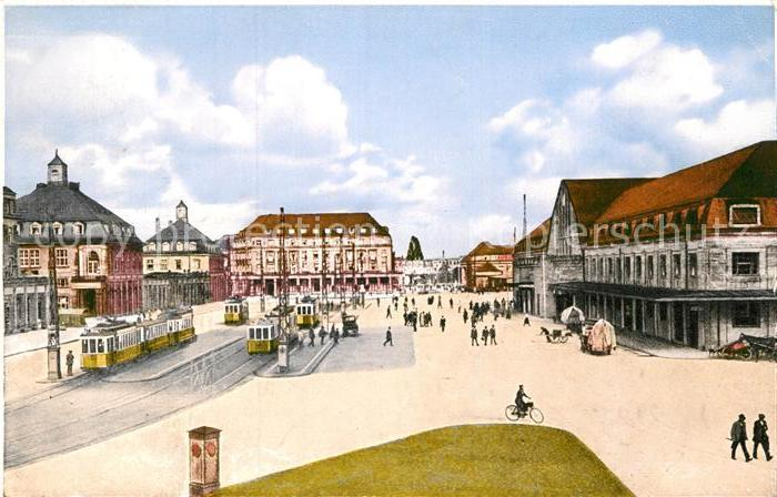 AK / Ansichtskarte Strassenbahn Karlsruhe Bahnhofsplatz Bahnpoststempel Frankfurt Basel  Kat. Strassenbahn