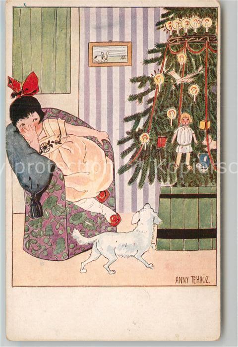 AK / Ansichtskarte Kuenstlerkarte Anny Tekauz Kind Hund Weihnachtsbaum Puppe  Kat. Kuenstlerkarte