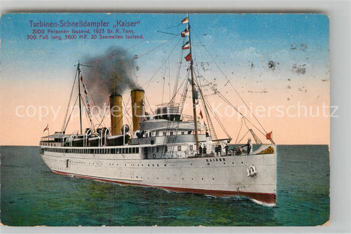 AK / Ansichtskarte Dampfer Oceanliner Turbinen Schnelldampfer Kaiser  Kat. Schiffe