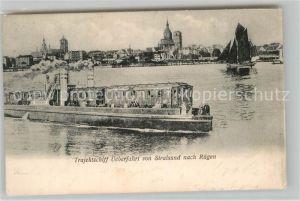AK / Ansichtskarte Schiffe Ships Navires Trajektschiff ueberfahrt von Stralsund nach Ruegen