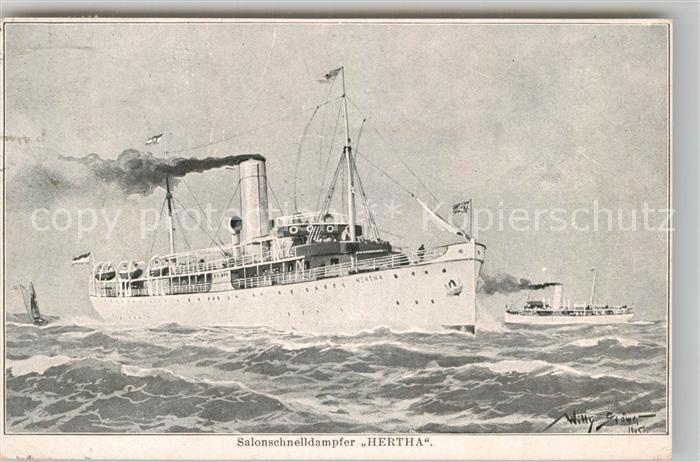 AK / Ansichtskarte Dampfer Oceanliner Salonschnelldampfer Hertha Willy Stoewer  Kat. Schiffe