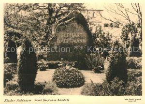 AK / Ansichtskarte Kloster Hiddensee Gerhart Hauptmann Ruhestaette Kat. Insel Hiddensee