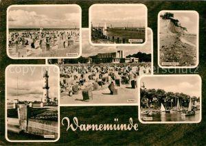 AK / Ansichtskarte Warnemuende Ostseebad Badestrand Leuchtturm Kurhaus Am Strom Kat. Rostock