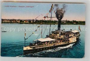 AK / Ansichtskarte Dampfer Seitenrad Konstanz Dampfer Zaehringen Kat. Schiffe
