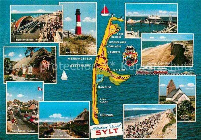 AK / Ansichtskarte Insel Sylt Landkarte Teilansichten Hafen Leuchtturm Strand Kirche Kat. Westerland