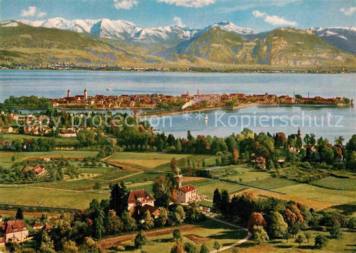 AK / Ansichtskarte Lindau Bodensee Panorama Blick vom Hoyerberg Alpenpanorama Kat. Lindau (Bodensee)