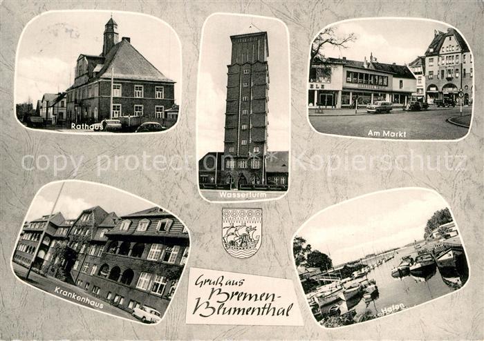 AK / Ansichtskarte Blumenthal Bremen Rathaus Krankenhaus Wasserturm Am Markt Kat. Bremen
