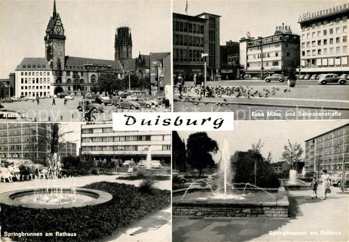 AK / Ansichtskarte Duisburg Ruhr Rathaus Springbrunnen am Rathaus  Kat. Duisburg