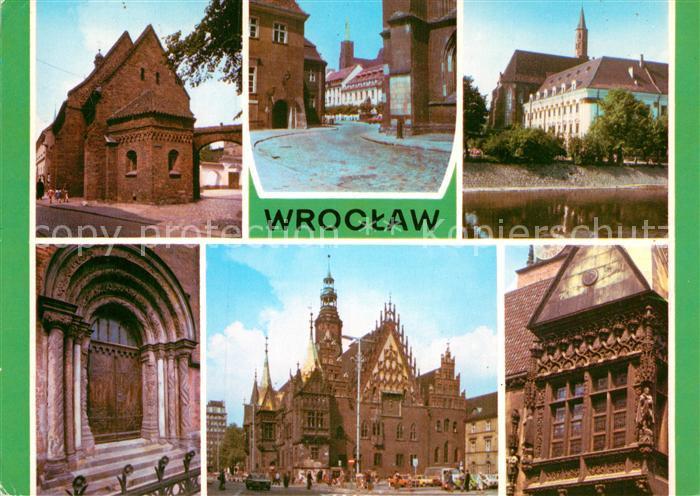 AK / Ansichtskarte Wroclaw Dominsel Innenstadt Barock Kloster Portal Rathaus Fassade Kat. Wroclaw Breslau