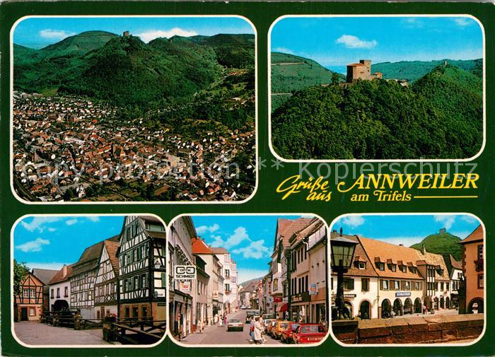 AK / Ansichtskarte Annweiler Trifels Fliegeraufnahme Schloss Fachwerkhaeuser Strassenpartie Kat. Annweiler am Trifels