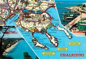 AK / Ansichtskarte Chalkidiki Halkidiki Halbinsel aegaeis Panorama Kueste Hafen von Moudania Kat.