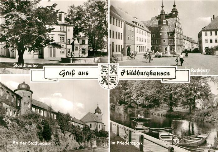 AK / Ansichtskarte Hildburghausen Stadttheater Rathaus Stadtmauer Friedenspark Kat. Hildburghausen