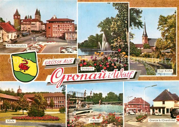 AK / Ansichtskarte Gronau Westfalen Rathausplatz Stadtpark Schule Freibad Grenze bei Overdinkel Kat. Gronau (Westf.)