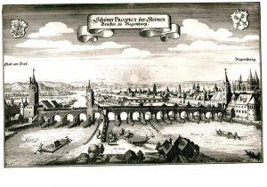 AK / Ansichtskarte Regensburg nach Kupferstich von Matthaeus Merian Kat. Regensburg