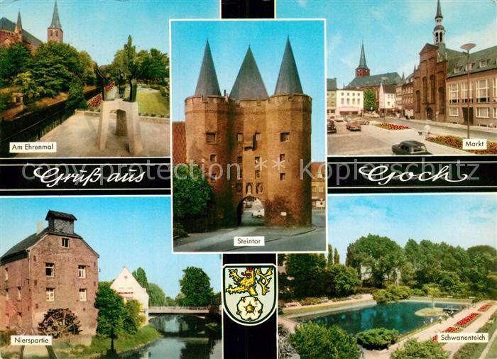 AK / Ansichtskarte Goch Erenmal Steintor Markt Nierspartie Schwanenteich Kat. Goch