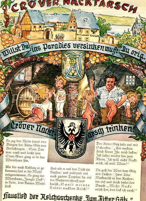 AK / Ansichtskarte Kroev Mosel Reichsschenke Zum Ritter Goetz Croever Nacktarsch Kat. Kroev