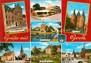 AK / Ansichtskarte Goch Haus zu den 5 Ringen Altersheim Nierspartie Steintor Pfarrkirche Schloss Kalbeck Markt Kat. Goch