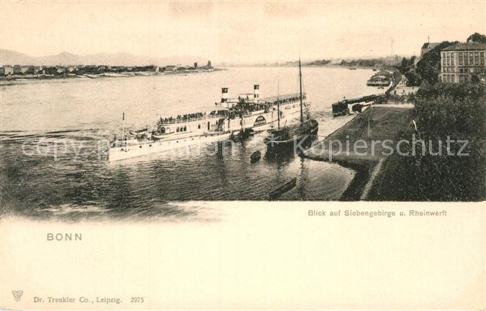 AK / Ansichtskarte Dampfer Seitenrad Kaiserin Auguste Victoria Bonn Siebengebirge Rheinwerft  Kat. Schiffe