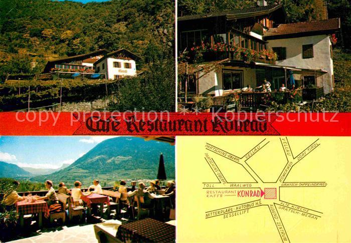 Ak Ansichtskarte Algund Merano Cafe Restaurant Konrad Terrasse