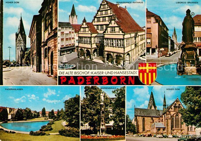 AK / Ansichtskarte Paderborn Hoher Dom Liborius Brunnen Rathaus Paderanlagen Mariensaeule  Kat. Paderborn