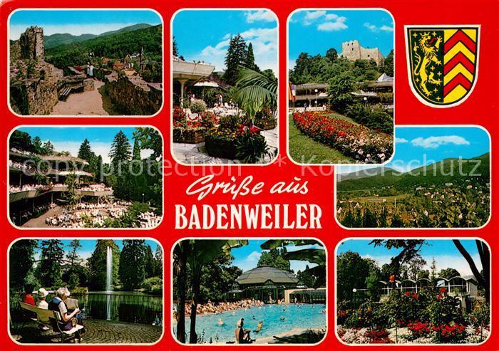 AK / Ansichtskarte Badenweiler Ruine Kurhaus Panorama Kurpark Fontaene Schwimmbad Kat. Badenweiler