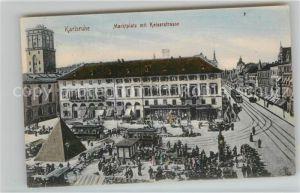 AK / Ansichtskarte Strassenbahn Karlsruhe Marktplatz Kaiserstrasse  Kat. Strassenbahn