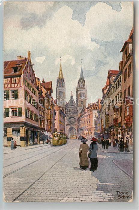 AK / Ansichtskarte Schmidt Franz Nuernberg Karolinenstrasse Lorenzkirche  Kat. Kuenstlerkarte