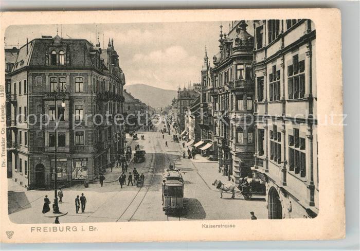 AK / Ansichtskarte Strassenbahn Freiburg im Breisgau Kaiserstrasse  Kat. Strassenbahn