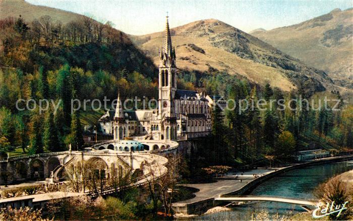 AK / Ansichtskarte Lourdes Hautes Pyrenees Basilique le Gave et le nouveau Pont Kat. Lourdes