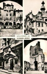 AK / Ansichtskarte Villefranche de Rouergue Place Notre Dame Chapelle des Pepitents Noirs Clocher et Porche de l'Eglise Notre Dame Kat. Villefranche de Rouergue