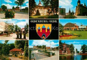 AK / Ansichtskarte Oldenburg Niedersachsen Teilansichten Gebaeude Skulpturen Teich Wappen Kat. Oldenburg (Oldenburg)