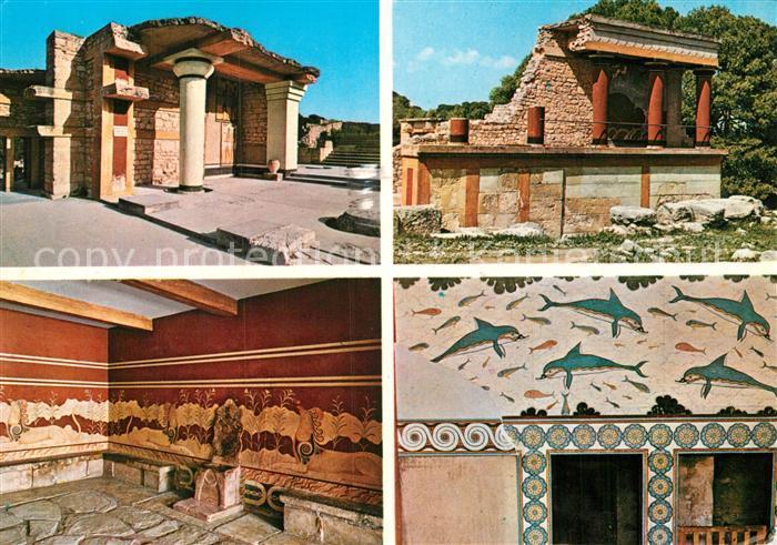 AK / Ansichtskarte Kreta Crete Knossos Geb?ud Innen Wandmalerei Kat. Insel  Kreta