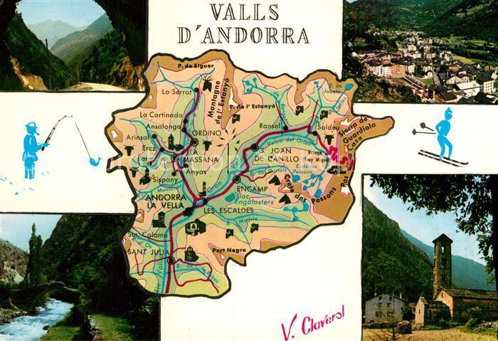 AK / Ansichtskarte Valls d Andorra Tunel Carretera de la Massana Andorra la Vella Capital Pont Romanic de S Antoni Esglesia Romanica de Sta Coloma