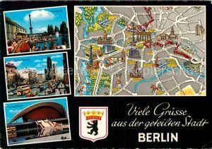 AK / Ansichtskarte Berlin Funkturm Gedaechtniskirche Kongresshalle Stadtplan Kat. Berlin