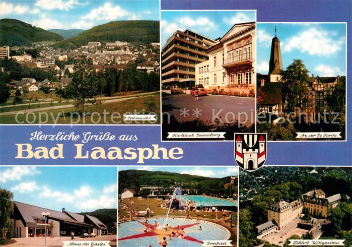 AK / Ansichtskarte Bad Laasphe Teilansicht Kurklinik Kirche Schloss Wittgenstein Freibad Haus des Gastes Kat. Bad Laasphe