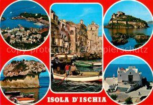 AK / Ansichtskarte Isola d Ischia Fliegeraufnahme Hafen Insel Teilansichten Kat. Golfo di Napoli
