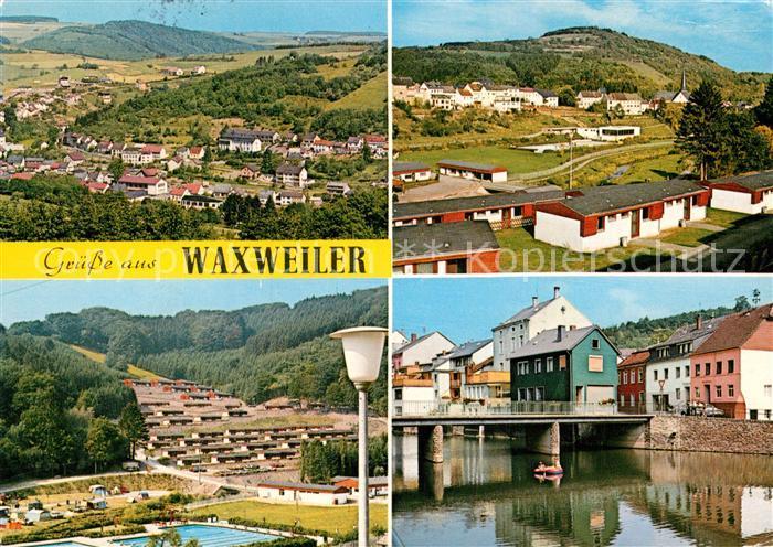 AK / Ansichtskarte Waxweiler Panorama Erholungsort Tor zum Naturpark Suedeifel Freibad Ortsmotiv mit Bruecke Kat. Waxweiler