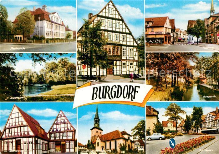 AK / Ansichtskarte Burgdorf Hannover Schule Stadtpark Teich Fachwerkhaus St Pankratius Kirche Rathaus Fachwerkhaus Strassenpartie Aue Platz Kat. Burgdorf