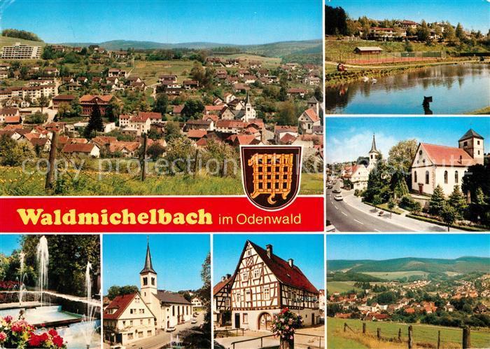 AK / Ansichtskarte Waldmichelbach Panorama Teilansichten Kirche Fachwerkhaus Partie am Fluss Kat. Wald Michelbach