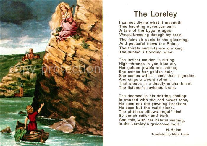Ak Ansichtskarte Heine Heinrich Gedicht The Loreley Kat Persoenlichkeiten