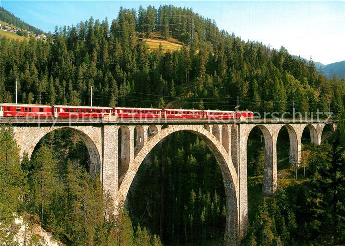 AK / Ansichtskarte Eisenbahn Wiesner Viadukt Rhaetische Bahn Strecke Davos Filisur  Kat. Eisenbahn