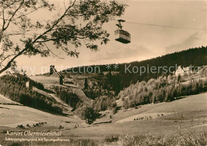 AK / Ansichtskarte Oberwiesenthal Erzgebirge Schoenjungferngrund mit Sprungschanzen Skispringen Kat. Oberwiesenthal