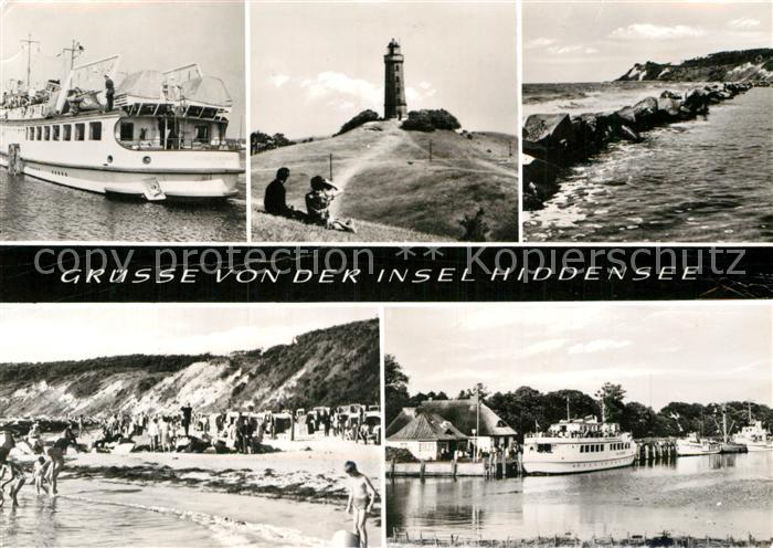 AK / Ansichtskarte Insel Hiddensee Faehre Leuchtturm Strand Kueste Bootsanleger Kat. Insel Hiddensee