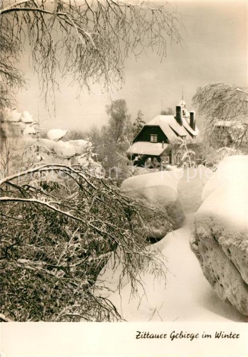AK / Ansichtskarte Oybin Toepferbaude Zittauer Gebirge im Winter Kat. Kurort Oybin
